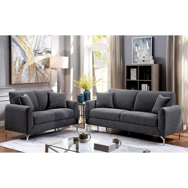 Furniture of America Jen Contemporary Grey 3-piece Sofa Set