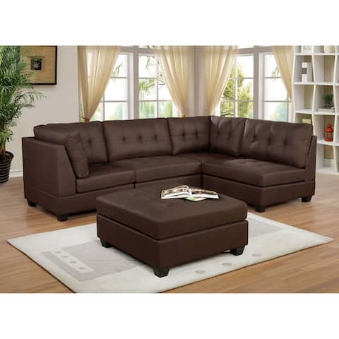 Furniture of America Fini Transitional Brown Sectional Sofas with Ottoman