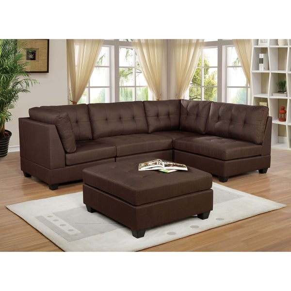 Furniture of America Fini Transitional Brown Sectional with Ottoman