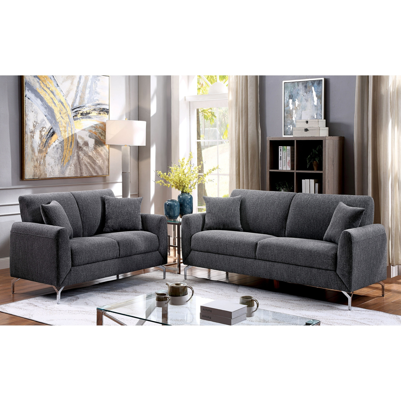 Furniture Of America Jen Contemporary Grey 2 Piece Sofa Set
