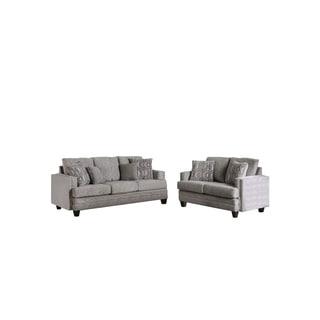 Furniture of America Gone Contemporary Grey 2-piece Sofa Set