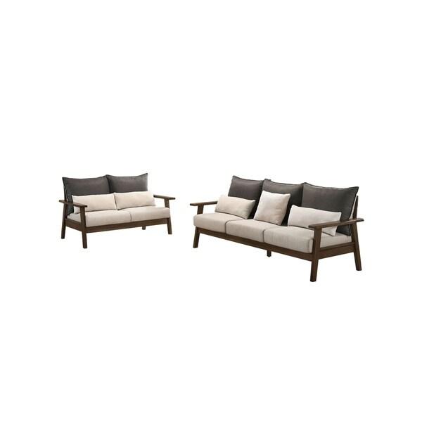 Furniture of America Balt Mid-century Beige 2-piece Sofa Set