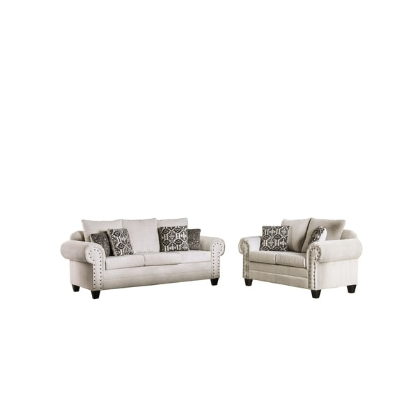 Furniture of America Basalt Transitional Flannelette 2-piece Sofa Set