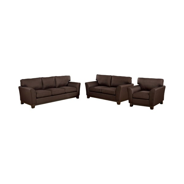 Furniture of America Pace Transitional Brown 3-piece Sofa Set