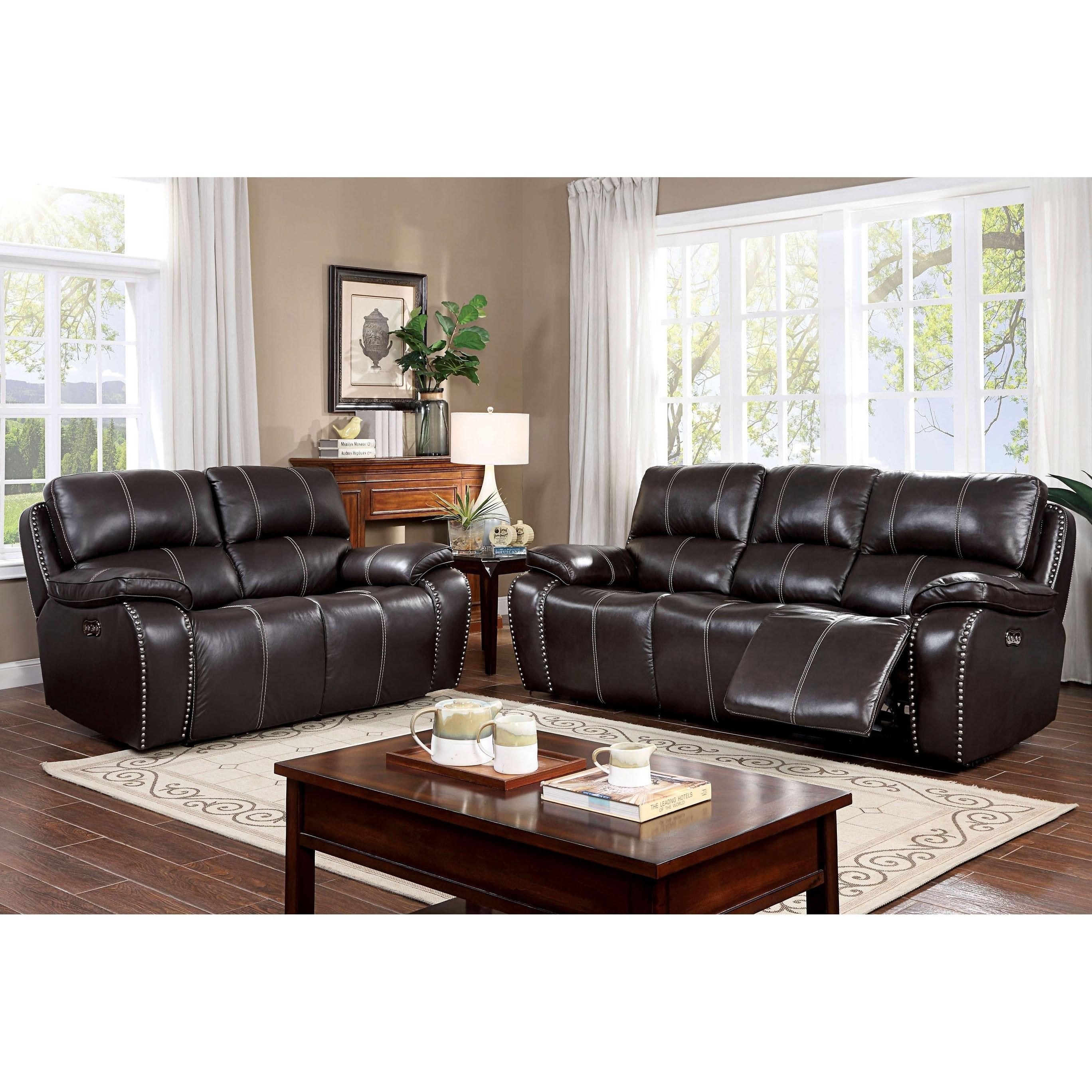 Furniture Of America Pika Brown 2 Piece Reclining Sofa Set Overstock 29726668