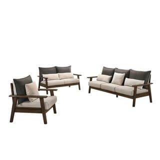 Furniture of America Balt Mid-century Charcoal 3-piece Sofa Set
