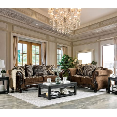 Furniture of America Pora Traditional Brown 2-piece Sofa Set