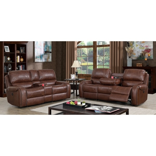 Furniture of America Breg Transitional 2-piece Power Reclining Sofa Set
