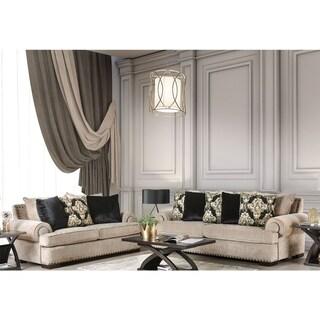 Furniture of America Jula Traditional Linen 2-piece Sofa Set
