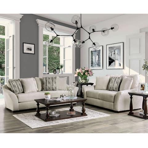 Furniture of America Olea Contemporary Chenille 2-piece Sofa Set