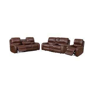 Furniture of America Breg Transitional 3-piece Reclining Sofa Set
