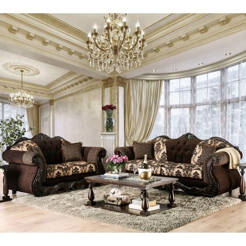Furniture of America Lupa Traditional Chenille 2-piece Sofa Set