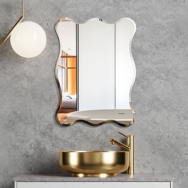 Mirror Trend Wave Beveled Venetian Frameless Wall Mirror DM018-2432 24''X 32''
