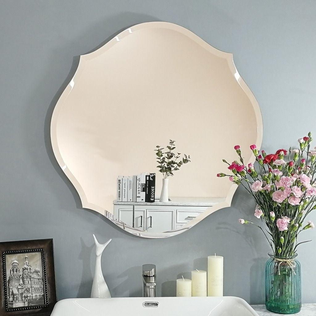 Mirror Trend Beveled Accent Frameless Mirror 28 28 0 71 Overstock 29727215