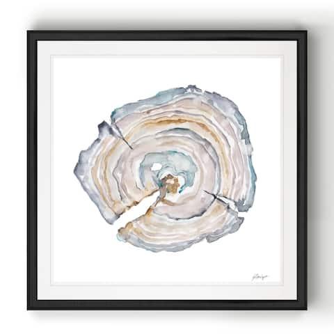 Watercolor Tree Ring I -Black Framed Print