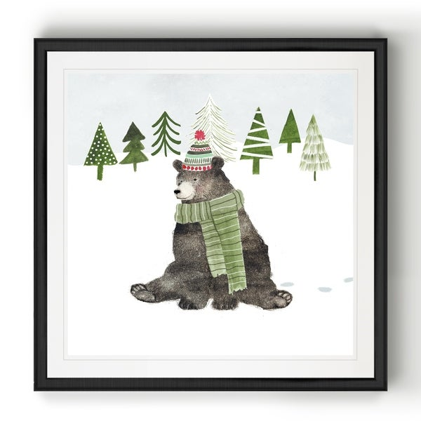 Woodland Christmas IV -Black Framed Print