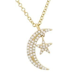 14k Yellow Gold Diamond Pave Moon Star Pendant Necklace 16 18