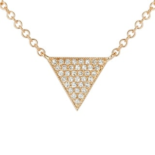 14k Yellow Gold Diamond Accent Suspended Triangle Pendant Necklace 16 18