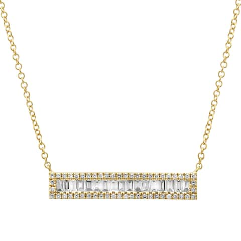 14k Yellow Gold Diamond Baguette Accent Bar Pendant Necklace, 16-18""