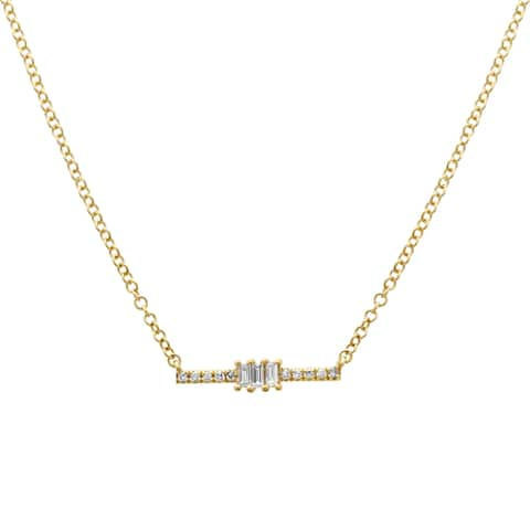 """14k Yellow Gold Baguette Round Diamond Bar Pendant Necklace (0.08 cttw, H-I Color, I1-I2 Clarity), 16-18"""""""