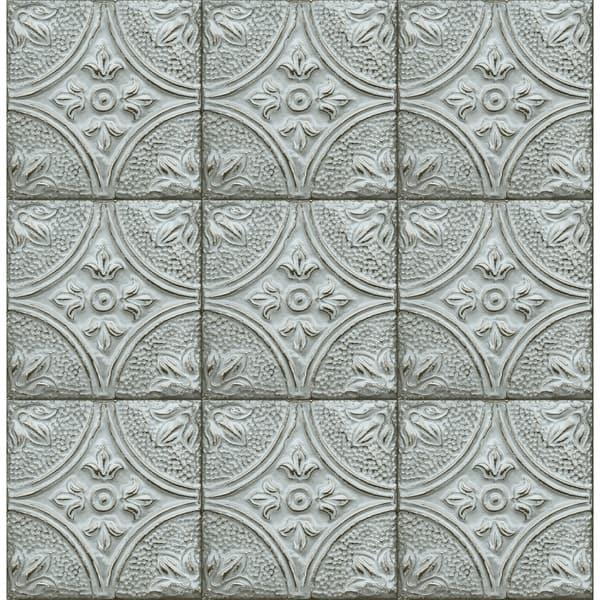 Heath Teal Tin Ceiling Tile Wallpaper
