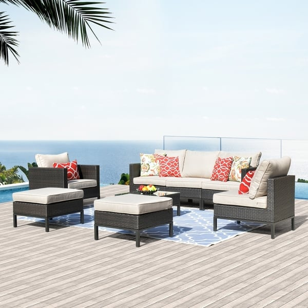 Ovios 8 Pcs Rattan Patio Furniture Set Outdoor Garden Furniture Pe Wicker Sectional Sofa With 2 Pillows And 1 Furniture Cover Overstock 29737595