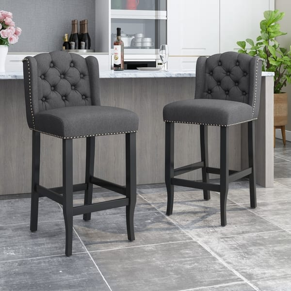 Velvet Swivel Bar Stool Button High Back Kitchen//Dining//Breakfast Bar Chair New