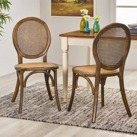 Chittenden Elm Wood and Rattan Dining Chair with Rattan Seat (Set of 2) by Christopher Knight Home
