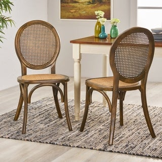 Link to Chittenden Elm Wood and Rattan Dining Chair with Rattan Seat (Set of 2) by Christopher Knight Home Similar Items in Dining Room & Bar Furniture