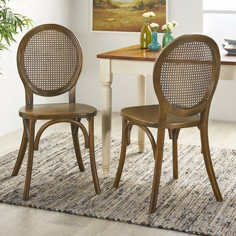Chrystie Elm Wood and Rattan Dining Chair (Set of 2) by Christopher Knight Home