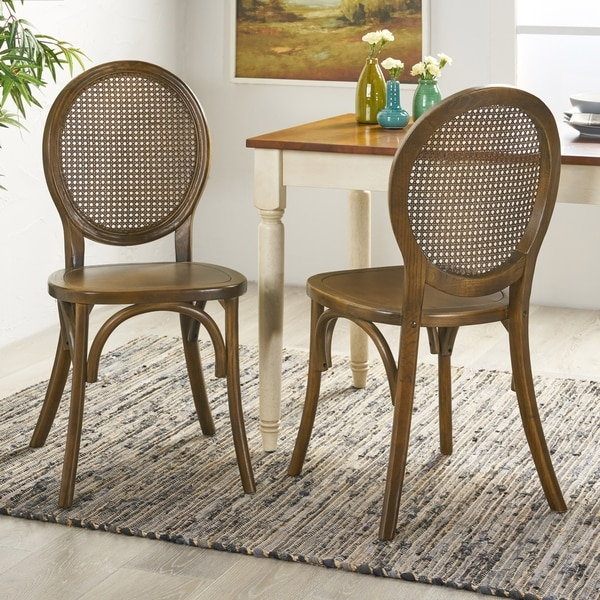 Chrystie Elm Wood and Rattan Dining Chair (Set of 2) by Christopher Knight Home. Opens flyout.