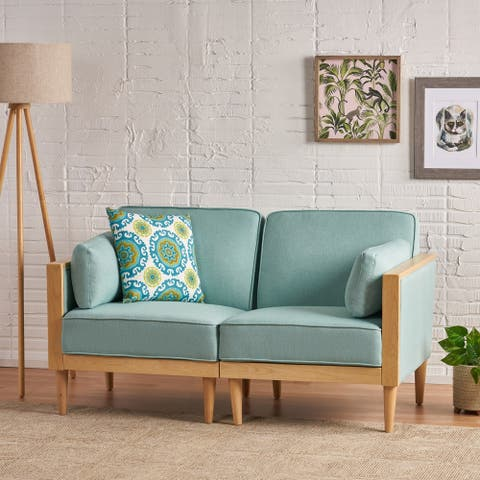 Pembroke Mid-Century Modern Fabric Upholstered Sectional Loveseat with Piped Cushions by Christopher Knight Home
