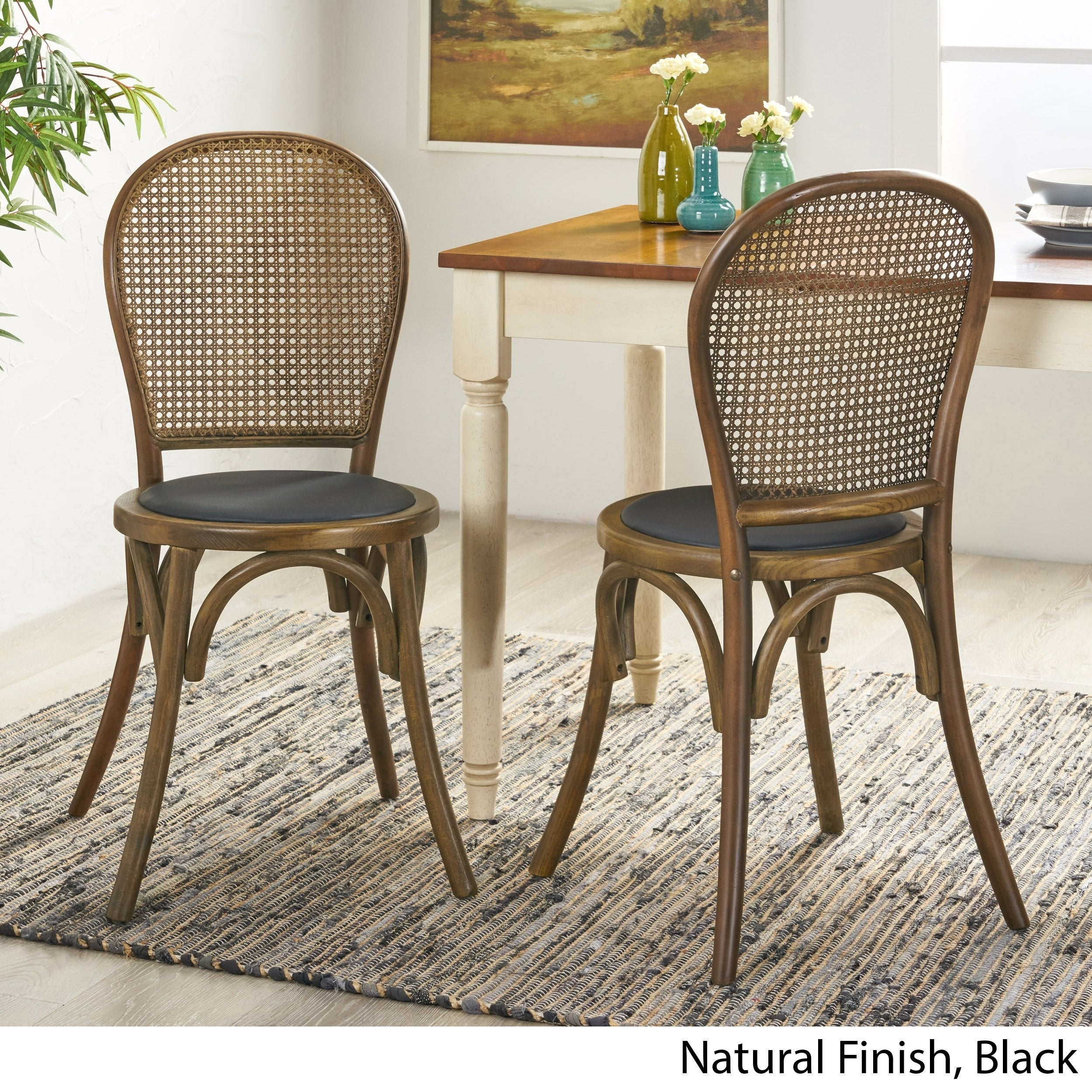 Chisum Beech Wood And Rattan Dining Chair With Faux Leather Cushion Set Of 2 By Christopher Knight Home On Sale Overstock 29737716 Black Black