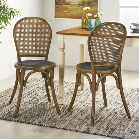 Chisum Beech Wood and Rattan Dining Chair with Faux Leather Cushion (Set of 2) by Christopher Knight Home