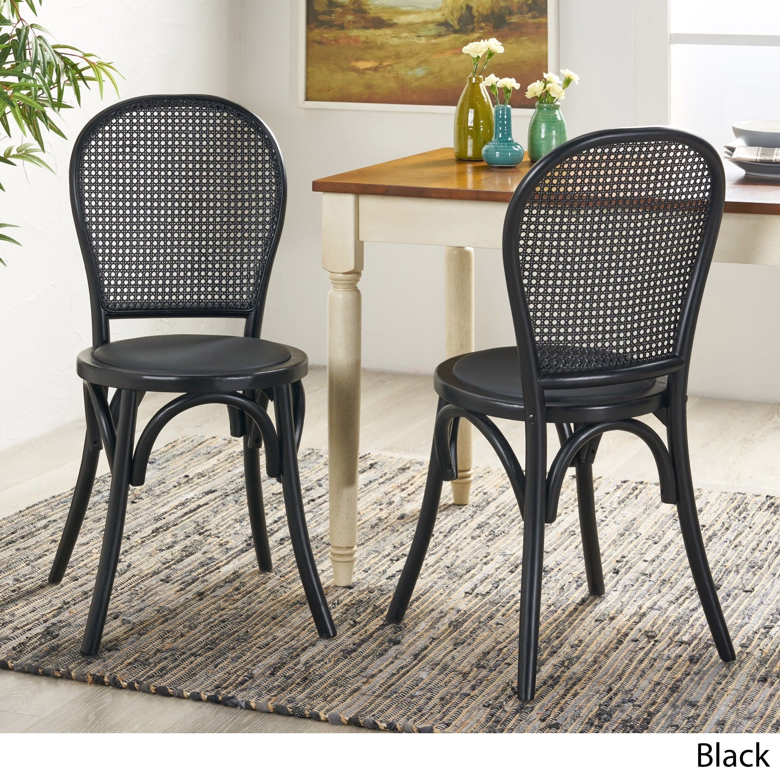 Chisum Beech Wood And Rattan Dining Chair With Faux Leather Cushion Set Of 2 By Christopher Knight Home On Sale Overstock 29737716