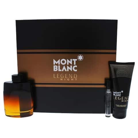 Mont Blanc Mont Blanc Legend Night 3 Pc Gift Set 3.3oz EDP Spray, 7.5ml EDP Spray, 3.3oz After Shave Balm