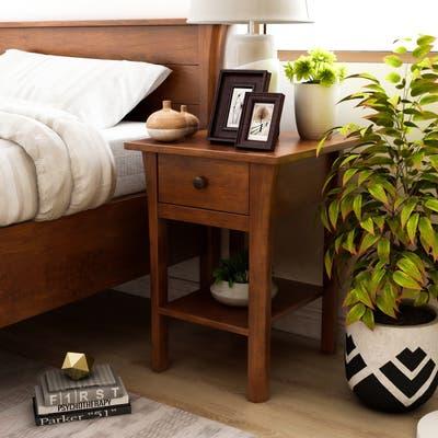 Furniture of America Nisa Mid-Century Modern Cherry Drawer Nightstand