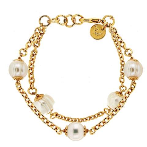Forever Last 18 kt Gold Plated Women's Double Strand Pearl Bracelet