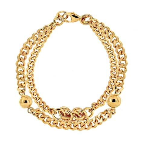 Forever Last 18 kt Gold Plated Women's Double Curb Link Knot & Bead Bracelet