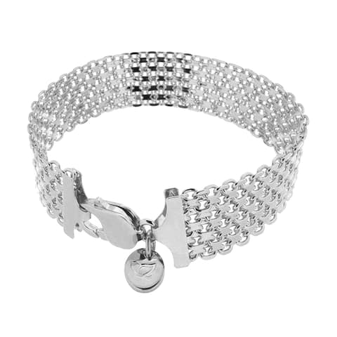 "Forever Last 18 kt Gold Plated Women's White 8.25"" Wide Bismark Chain Bracelet"