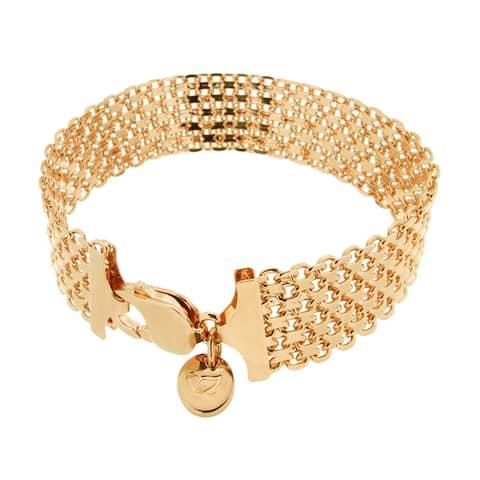 "Forever Last 18 kt Gold Plated Women's 8.25"" Wide Bismark Chain Bracelet"