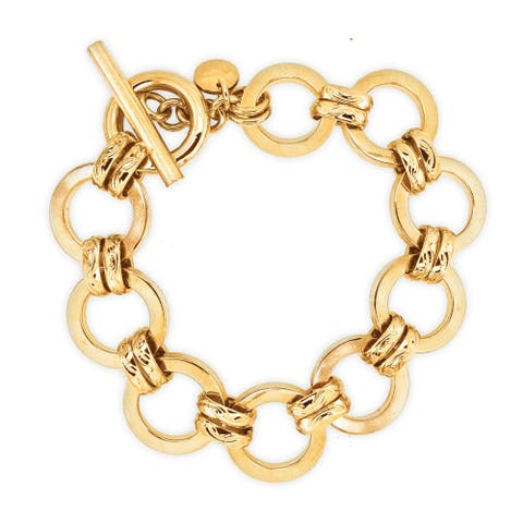 "Forever Last 18 kt Gold Plated Women's 8.5"" Large Round Link With Toggle Clasp Bracelet"