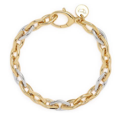 """Forever Last 18 kt Gold Plated Women's 8"""" Two Tone Rolo Bracelet"""