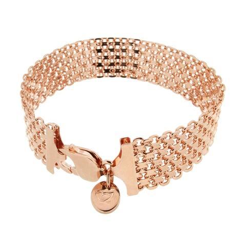 """Forever Last 18 kt Gold Plated Women's Rose 8.25"""" Wide Bismark Chain Bracelet"""