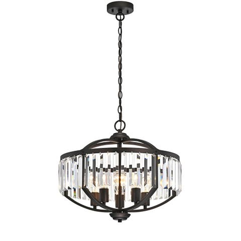 Silver Orchid Basch 5-light Oil Rubbed Bronze/Crystal Glass Hanging Pendant