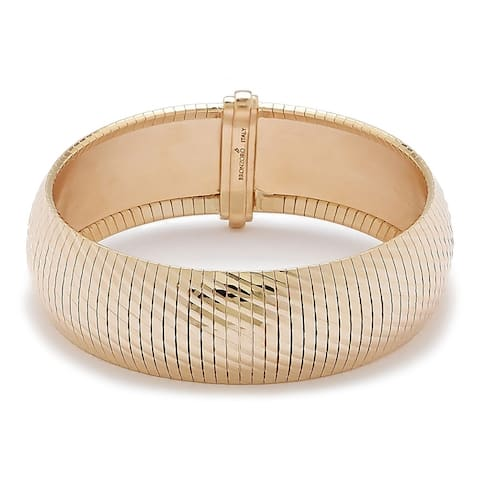 Forever Last 18 kt Gold Plated Women's Large Wide Omega Bracelet
