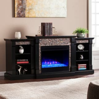 Copper Grove Gordon Black Color Changing Fireplace with Bookcases