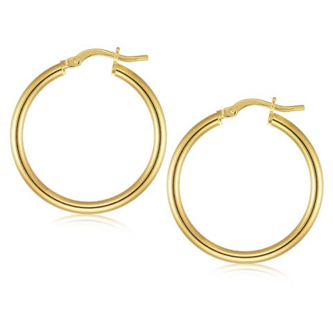 Forever Last 18 k Gold Overlay Polished 3Mmx30Mm Hoop Earrings