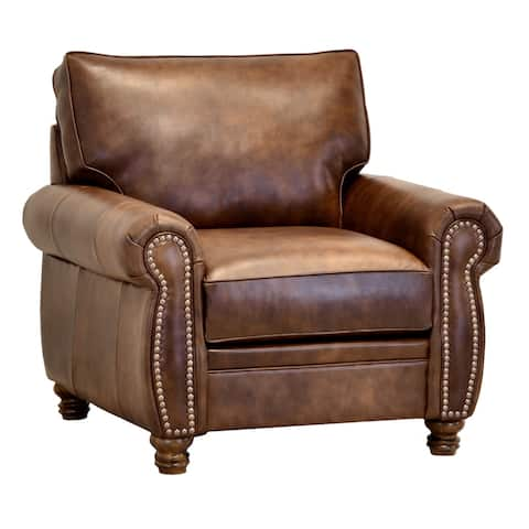 Made in USA Cabot Brown Top Grain Leather Chair