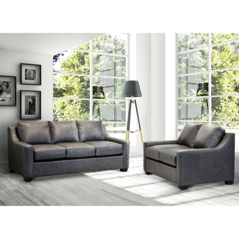 Made in USA Idris Distressed Grey Top Grain Leather Sofa and Loveseat